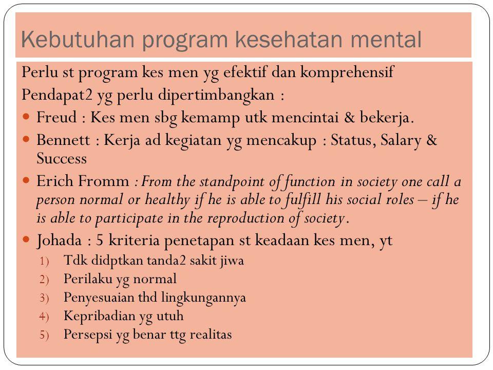 Kebutuhan program kesehatan mental Perlu st program kes men yg efektif dan komprehensif Pendapat2 yg perlu dipertimbangkan : Freud : Kes men sbg kemamp utk mencintai & bekerja.