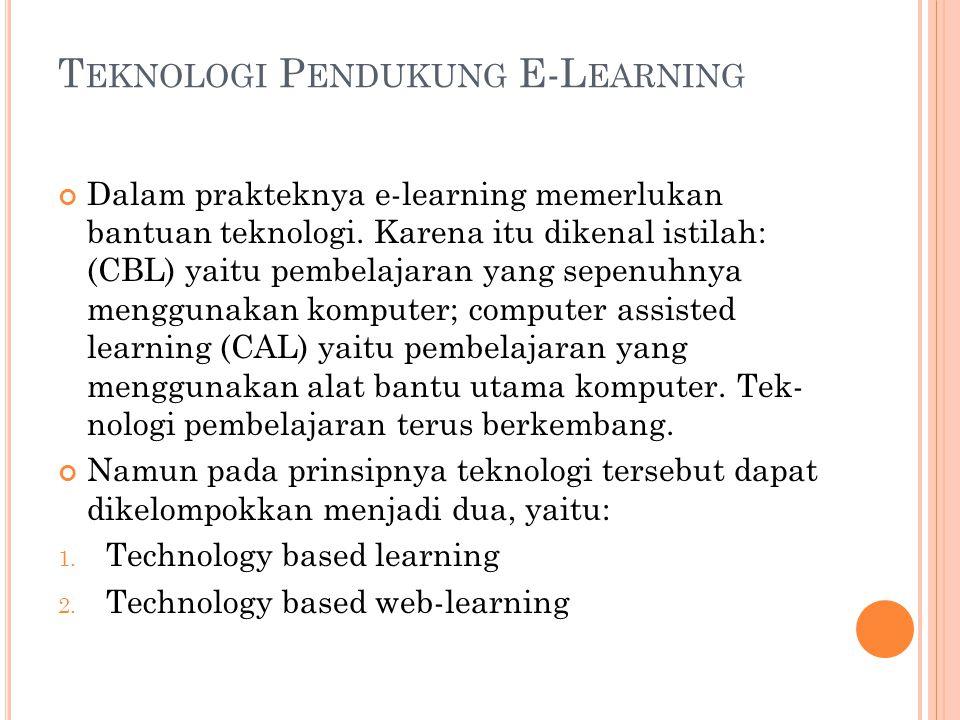 T EKNOLOGI P ENDUKUNG E-L EARNING Dalam prakteknya e-learning memerlukan bantuan teknologi. Karena itu dikenal istilah: (CBL) yaitu pembelajaran yang
