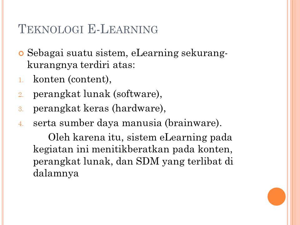T EKNOLOGI E-L EARNING Sebagai suatu sistem, eLearning sekurang- kurangnya terdiri atas: 1. konten (content), 2. perangkat lunak (software), 3. perang