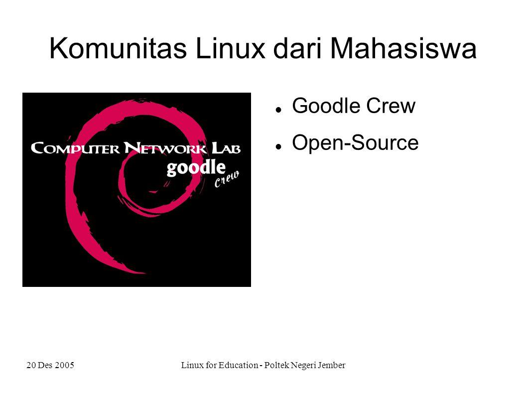 20 Des 2005Linux for Education - Poltek Negeri Jember Manfaat Linux Server Internet Desktop Peralatan pengontrol industri PDA FPGA Mobil Otomatis … (lihat berita jawapos)
