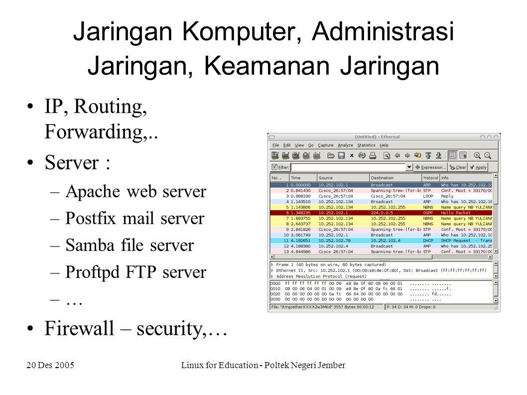 20 Des 2005Linux for Education - Poltek Negeri Jember Jaringan Komputer, Administrasi Jaringan, Keamanan Jaringan IP, Routing, Forwarding,..