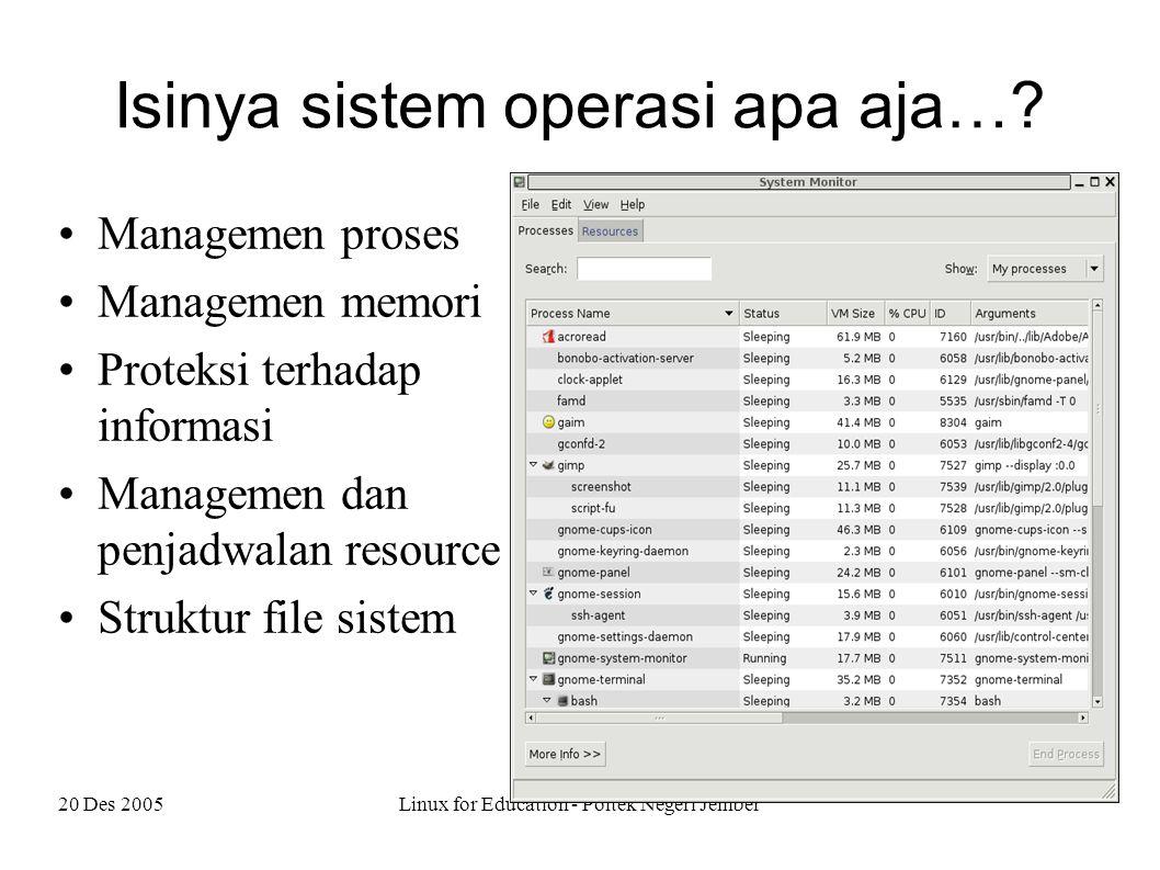 20 Des 2005Linux for Education - Poltek Negeri Jember Isinya sistem operasi apa aja….