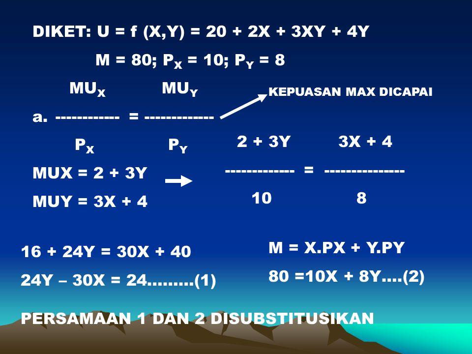 DIKET: U = f (X,Y) = 20 + 2X + 3XY + 4Y M = 80; P X = 10; P Y = 8 MU X MU Y a. ------------ = ------------- P X P Y MUX = 2 + 3Y MUY = 3X + 4 2 + 3Y 3