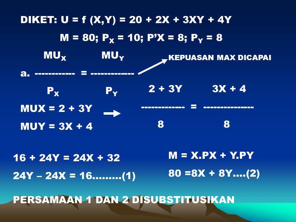 DIKET: U = f (X,Y) = 20 + 2X + 3XY + 4Y M = 80; P X = 10; P'X = 8; P Y = 8 MU X MU Y ----------- = ------------- P X P Y MUX = 2 + 3Y MUY = 3X + 4 2 +