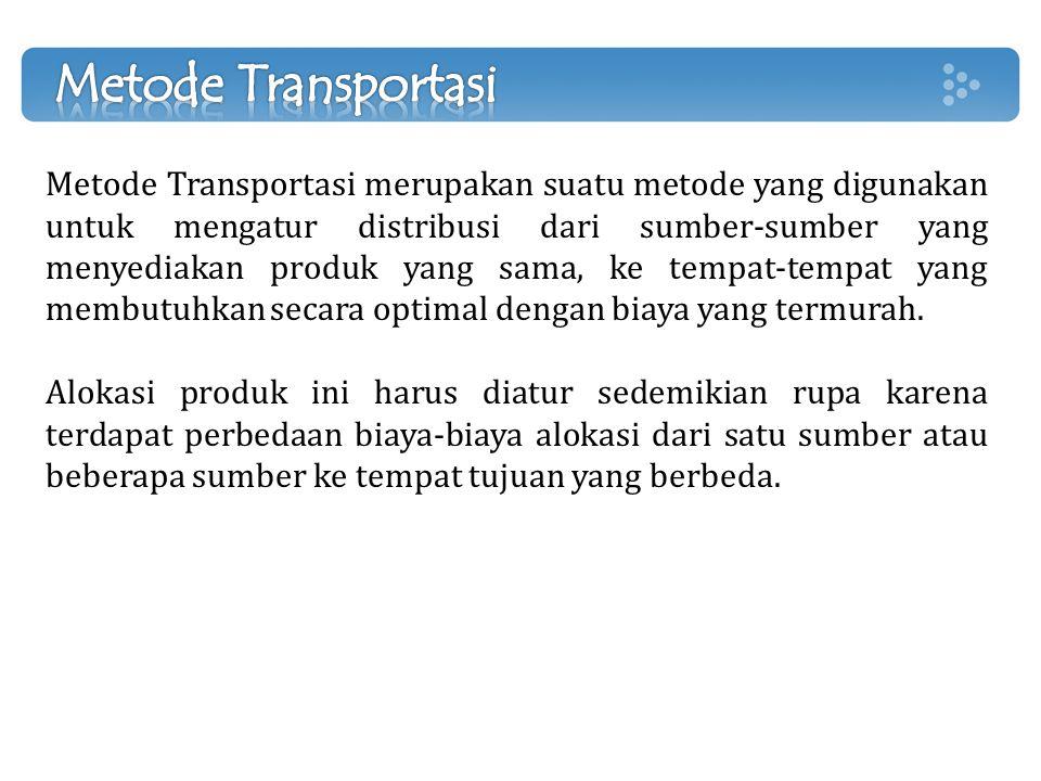 Metode Transportasi merupakan suatu metode yang digunakan untuk mengatur distribusi dari sumber-sumber yang menyediakan produk yang sama, ke tempat-te
