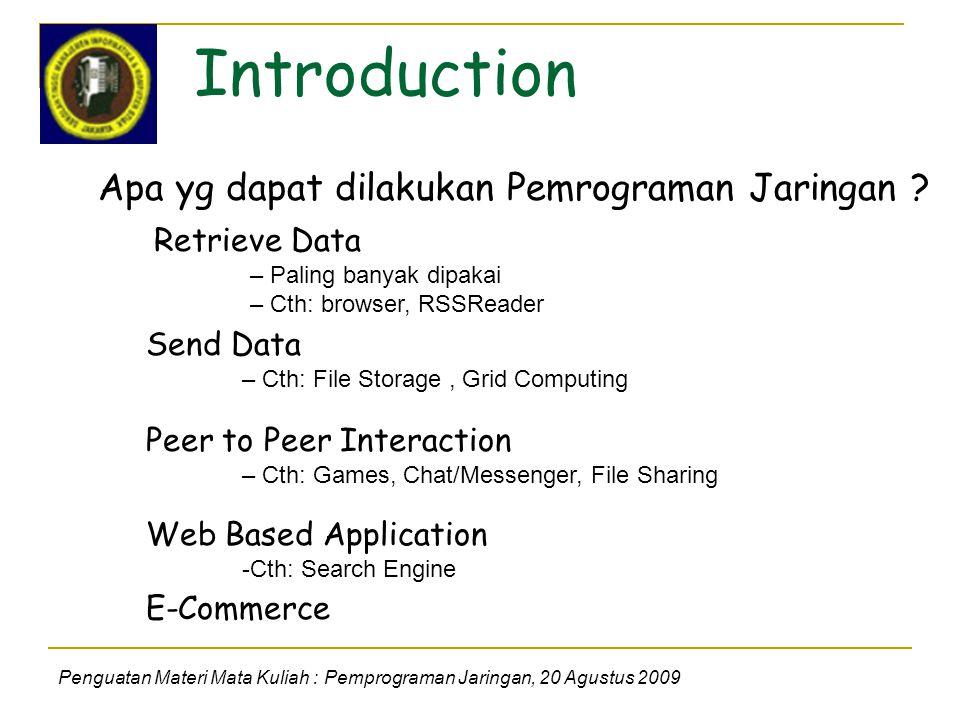 Introduction Penguatan Materi Mata Kuliah : Pemprograman Jaringan, 20 Agustus 2009 Apa yg dapat dilakukan Pemrograman Jaringan .