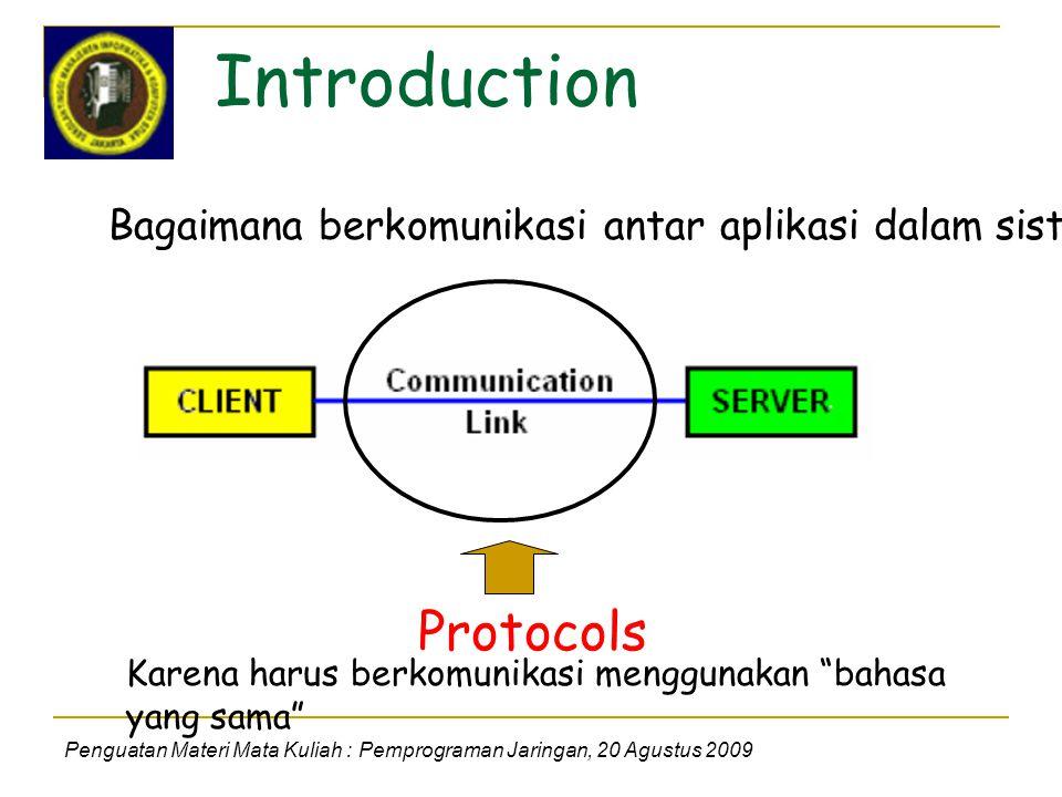Introduction Penguatan Materi Mata Kuliah : Pemprograman Jaringan, 20 Agustus 2009 Bagaimana berkomunikasi antar aplikasi dalam sistem .