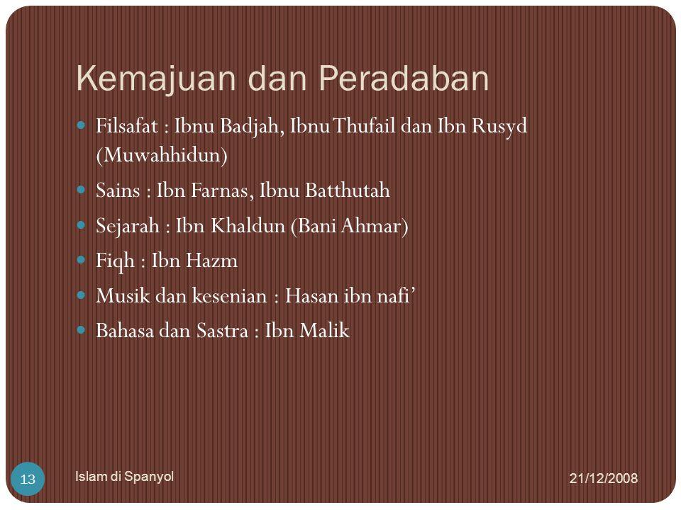 Kemajuan dan Peradaban 21/12/2008 Islam di Spanyol 13 Filsafat : Ibnu Badjah, Ibnu Thufail dan Ibn Rusyd (Muwahhidun) Sains : Ibn Farnas, Ibnu Batthut