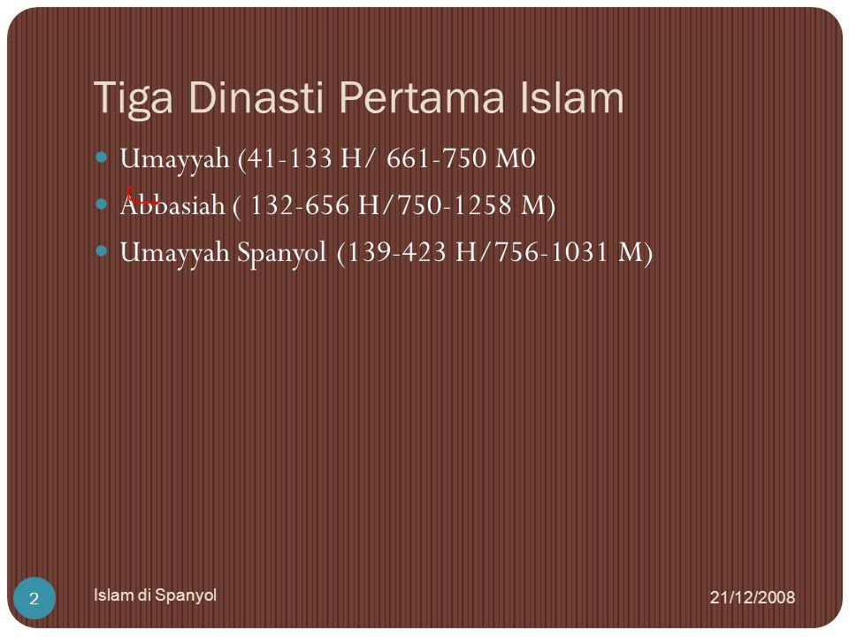 Tiga Dinasti Pertama Islam 21/12/2008 Islam di Spanyol 2 Umayyah (41-133 H/ 661-750 M0 Abbasiah ( 132-656 H/750-1258 M) Umayyah Spanyol (139-423 H/756