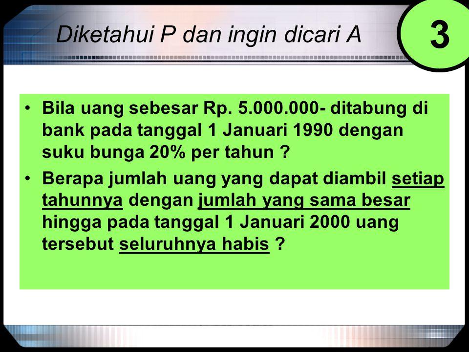 Diketahui P dan ingin dicari A Bila uang sebesar Rp. 5.000.000- ditabung di bank pada tanggal 1 Januari 1990 dengan suku bunga 20% per tahun ? Berapa