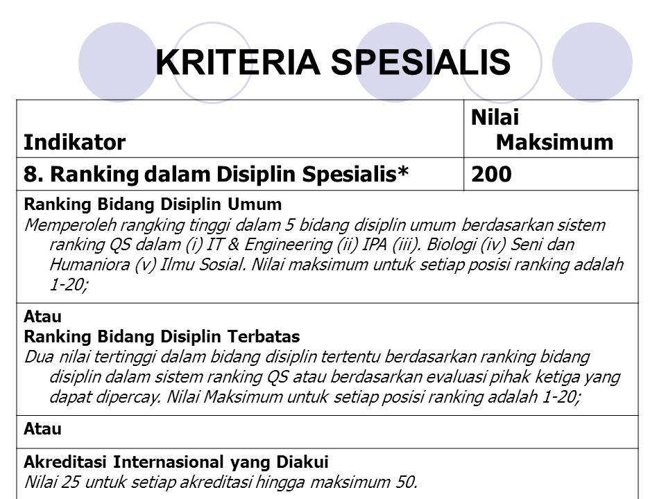 KRITERIA SPESIALIS Indikator Nilai Maksimum 8.