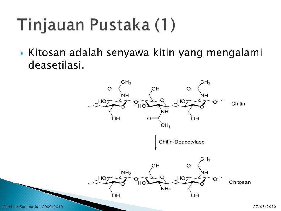  Kitosan adalah senyawa kitin yang mengalami deasetilasi. 27/05/2010Seminar Sarjana Juli 2009/2010