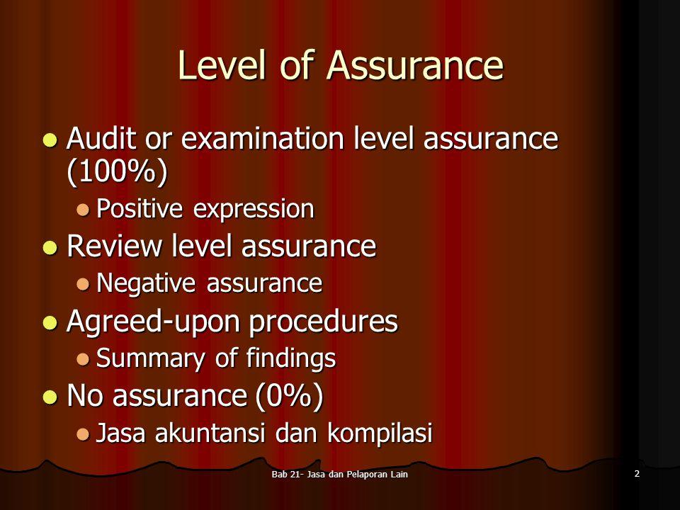 Bab 21- Jasa dan Pelaporan Lain 13 Laporan Keuangan Tanpa Audit dari Perusahaan Publik Seorang Akuntan Publik dapat dikaitkan dengan laporan keuangan perusahaan publik, biarpun dia tidak melakukan suatu audit.