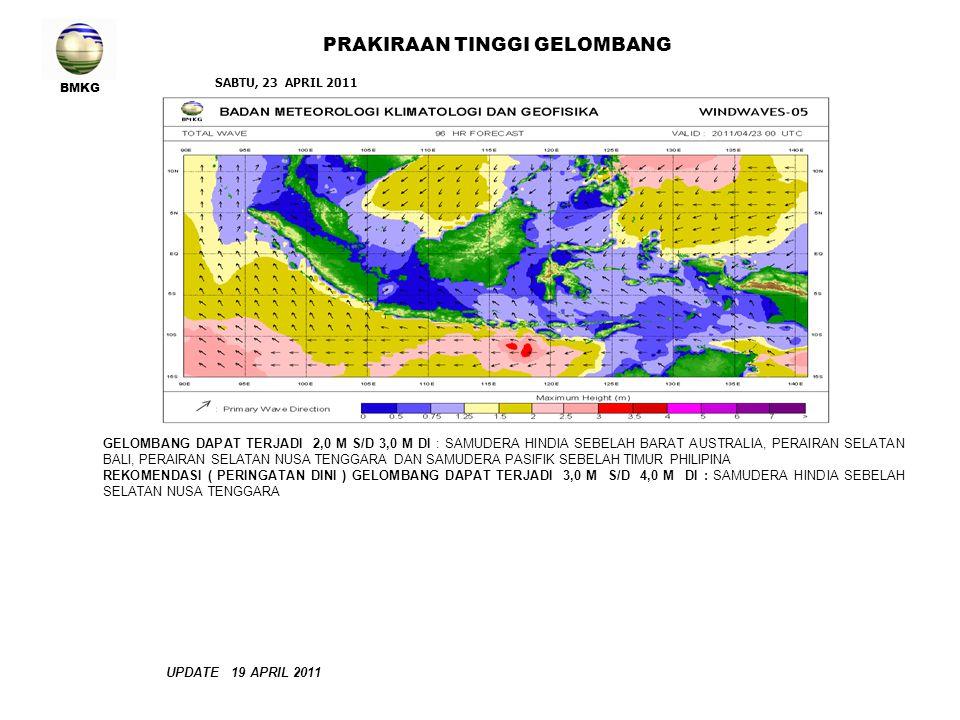 BMKG PRAKIRAAN TINGGI GELOMBANG UPDATE 19 APRIL 2011 GELOMBANG DAPAT TERJADI 2,0 M S/D 3,0 M DI : SAMUDERA HINDIA SEBELAH BARAT AUSTRALIA, PERAIRAN SE