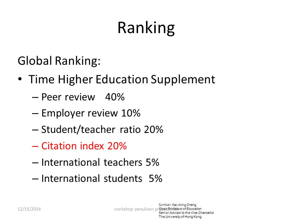 Ranking Global Ranking: Time Higher Education Supplement – Peer review 40% – Employer review 10% – Student/teacher ratio 20% – Citation index 20% – International teachers 5% – International students 5% Kai-ming Cheng Sumber: Kai-ming Cheng Chair Professor of Education Senior Advisor to the Vice-Chancellor The University of Hong Kong 12/15/2014workshop penulisan proposal uii