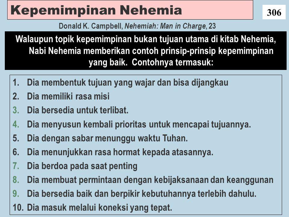 Kepemimpinan Nehemia 306 1.Dia membentuk tujuan yang wajar dan bisa dijangkau 2.Dia memiliki rasa misi 3.Dia bersedia untuk terlibat. 4.Dia menyusun k