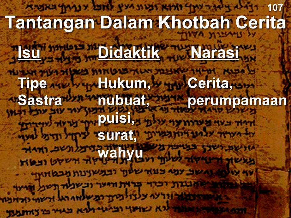 Didaktik Tantangan Dalam Khotbah Cerita Narasi Hukum, nubuat, puisi, surat, wahyu Cerita, perumpamaan 107 Isu Tipe Sastra