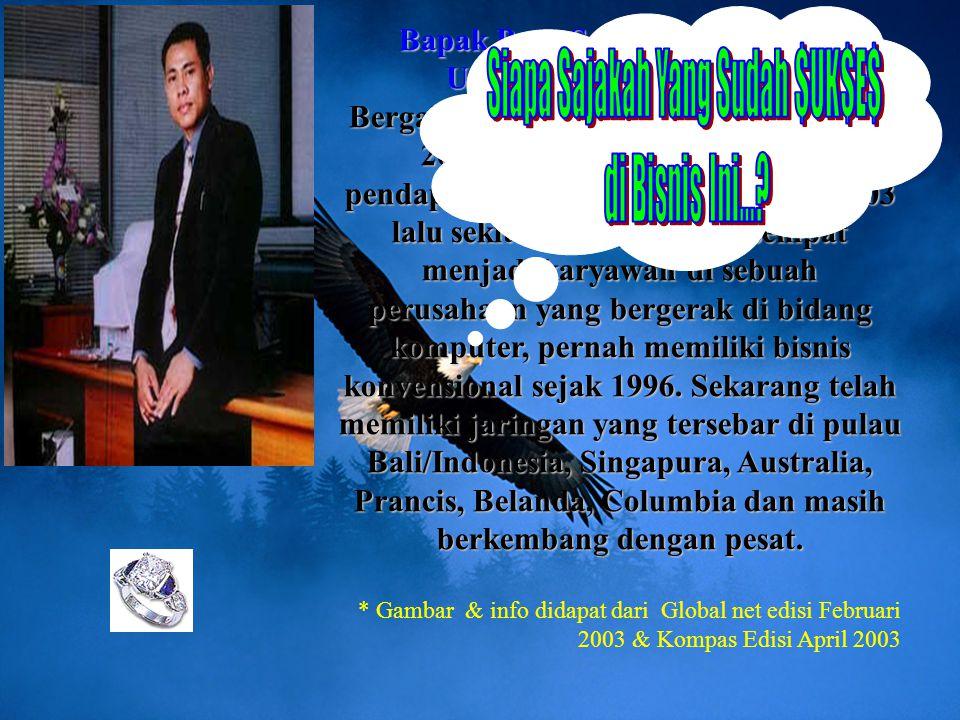 Bapak Putu Suarsana (MyPutu) Urutan 2 Indonesia - Bali Bergabung/teregister online sejak 3 Juli 2001 (26 bulan), dengan total pendapatan hingga bulan
