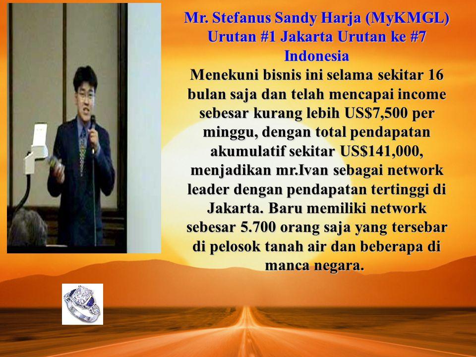 Mr. Stefanus Sandy Harja (MyKMGL) Urutan #1 Jakarta Urutan ke #7 Indonesia Menekuni bisnis ini selama sekitar 16 bulan saja dan telah mencapai income