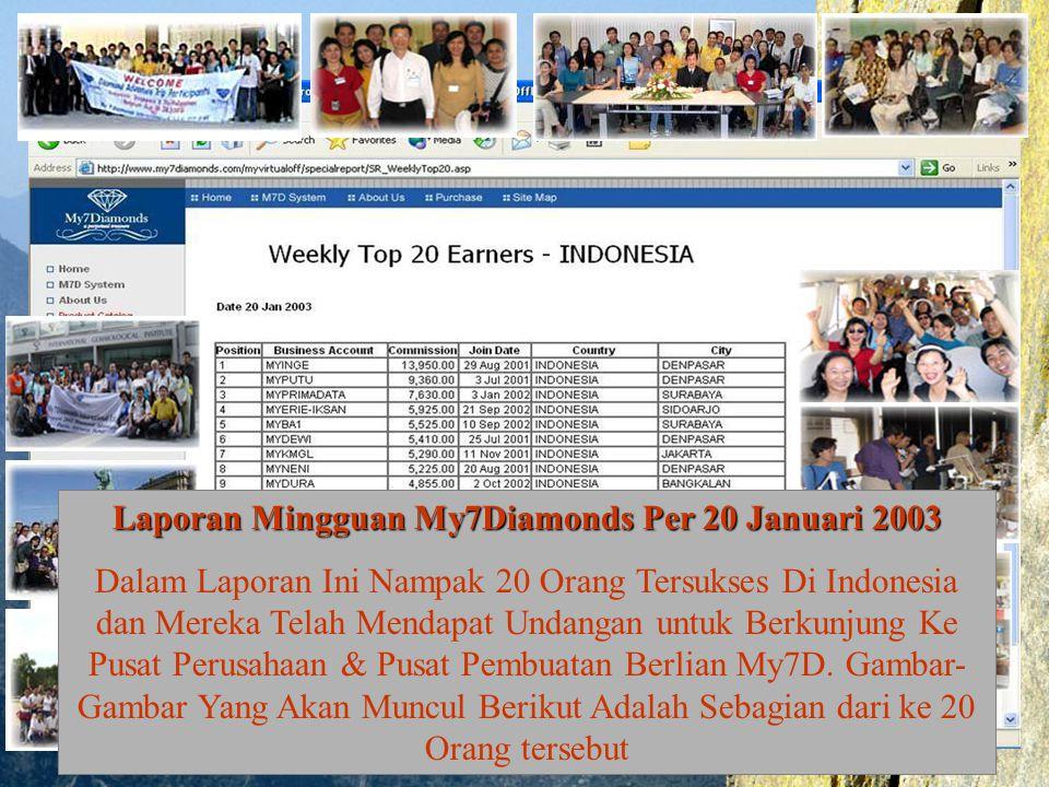 Laporan Mingguan My7Diamonds Per 20 Januari 2003 Dalam Laporan Ini Nampak 20 Orang Tersukses Di Indonesia dan Mereka Telah Mendapat Undangan untuk Ber