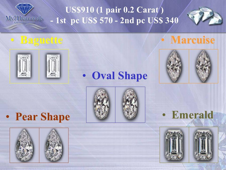 US$910 (1 pair 0.2 Carat ) - 1st pc US$ 570 - 2nd pc US$ 340 Baguette Baguette Pear Shape Pear Shape Oval Shape Oval Shape Marcuise Marcuise Emerald E