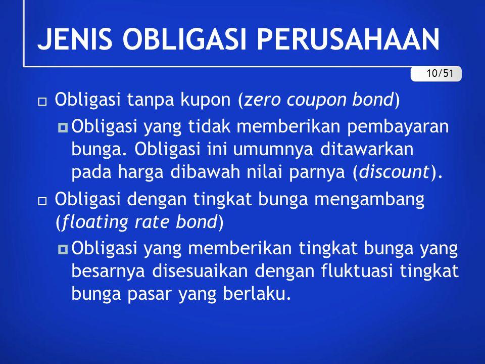 JENIS OBLIGASI PERUSAHAAN  Obligasi tanpa kupon (zero coupon bond)  Obligasi yang tidak memberikan pembayaran bunga. Obligasi ini umumnya ditawarkan