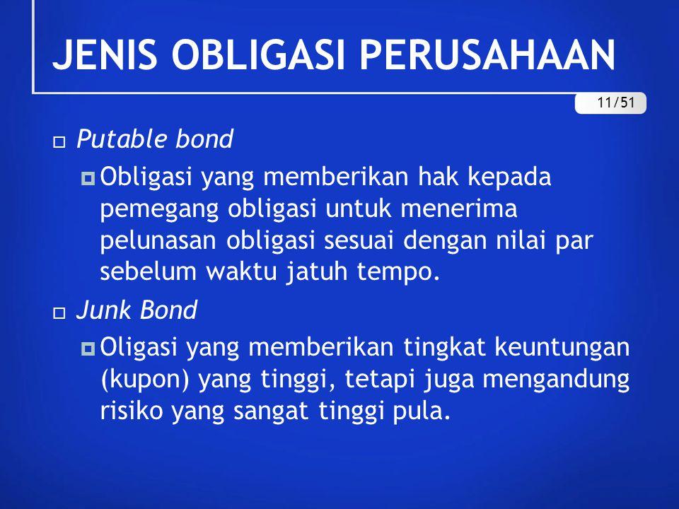 JENIS OBLIGASI PERUSAHAAN  Putable bond  Obligasi yang memberikan hak kepada pemegang obligasi untuk menerima pelunasan obligasi sesuai dengan nilai