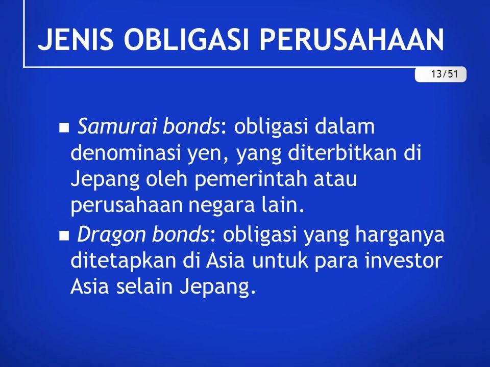 Samurai bonds: obligasi dalam denominasi yen, yang diterbitkan di Jepang oleh pemerintah atau perusahaan negara lain. Dragon bonds: obligasi yang harg