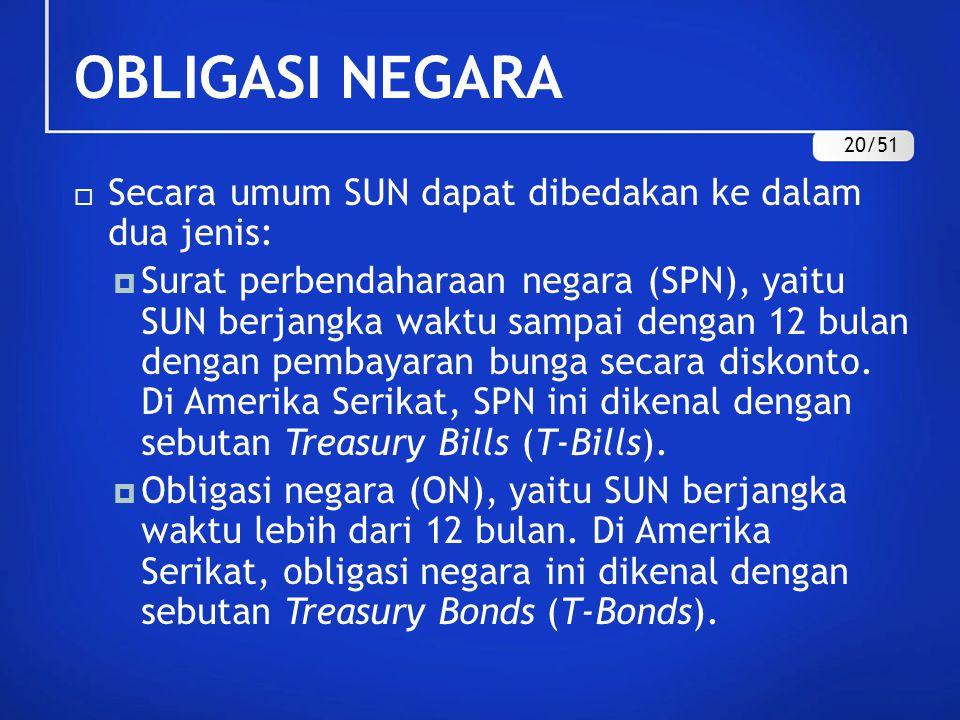 OBLIGASI NEGARA  Secara umum SUN dapat dibedakan ke dalam dua jenis:  Surat perbendaharaan negara (SPN), yaitu SUN berjangka waktu sampai dengan 12