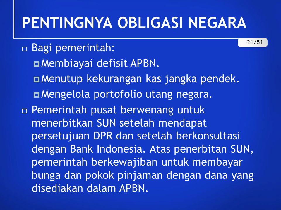 PENTINGNYA OBLIGASI NEGARA  Bagi pemerintah:  Membiayai defisit APBN.  Menutup kekurangan kas jangka pendek.  Mengelola portofolio utang negara. 