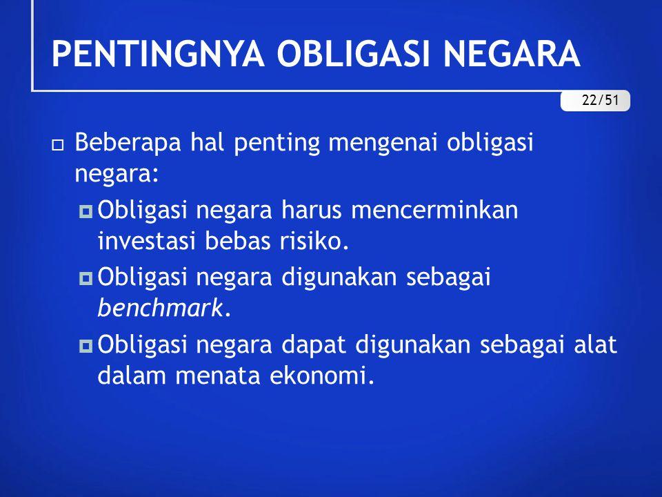 PENTINGNYA OBLIGASI NEGARA  Beberapa hal penting mengenai obligasi negara:  Obligasi negara harus mencerminkan investasi bebas risiko.  Obligasi ne