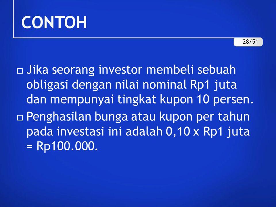 CONTOH  Jika seorang investor membeli sebuah obligasi dengan nilai nominal Rp1 juta dan mempunyai tingkat kupon 10 persen.  Penghasilan bunga atau k