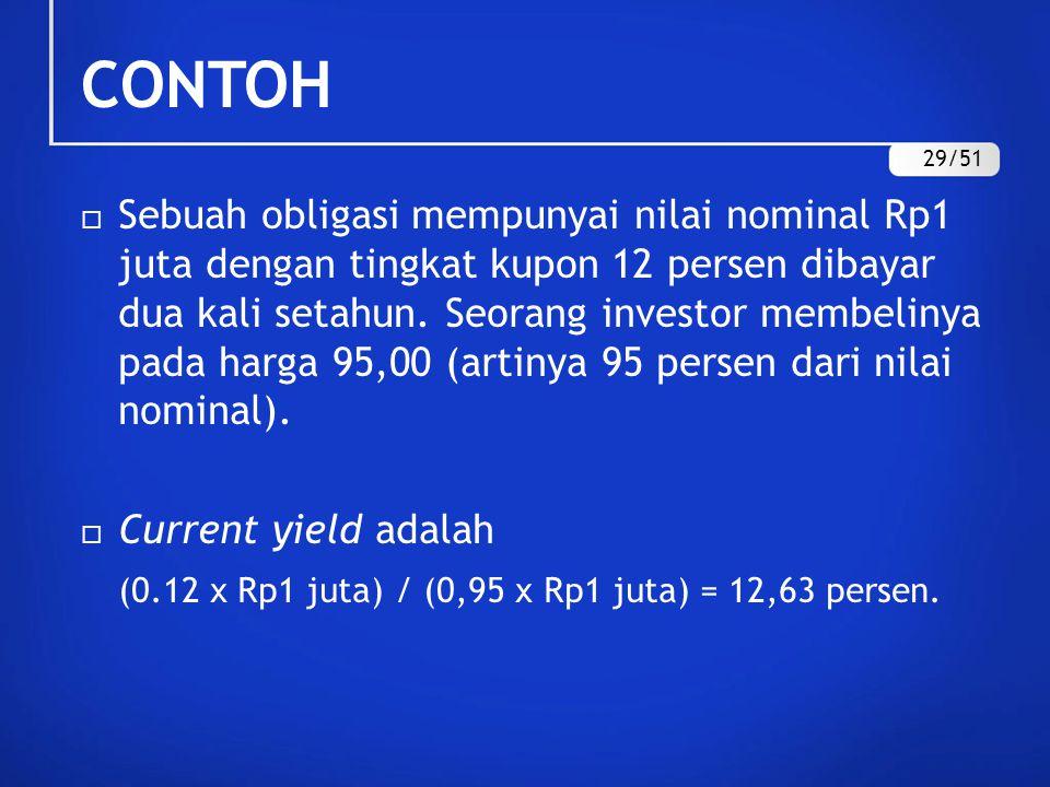 CONTOH  Sebuah obligasi mempunyai nilai nominal Rp1 juta dengan tingkat kupon 12 persen dibayar dua kali setahun. Seorang investor membelinya pada ha