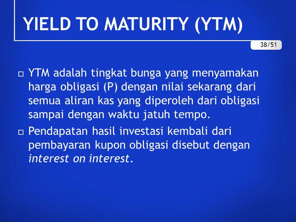 YIELD TO MATURITY (YTM)  YTM adalah tingkat bunga yang menyamakan harga obligasi (P) dengan nilai sekarang dari semua aliran kas yang diperoleh dari
