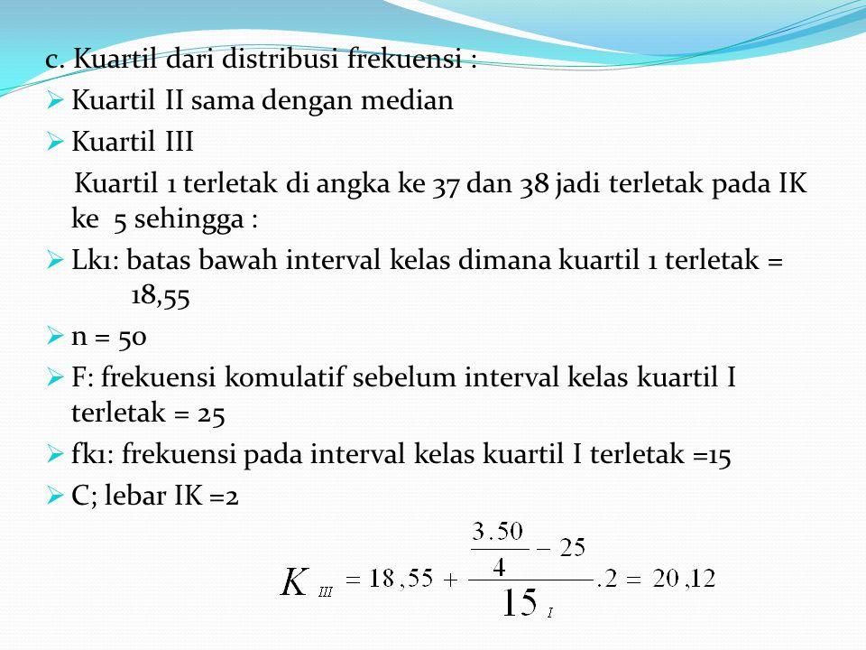 c. Kuartil dari distribusi frekuensi :  Kuartil II sama dengan median  Kuartil III Kuartil 1 terletak di angka ke 37 dan 38 jadi terletak pada IK ke