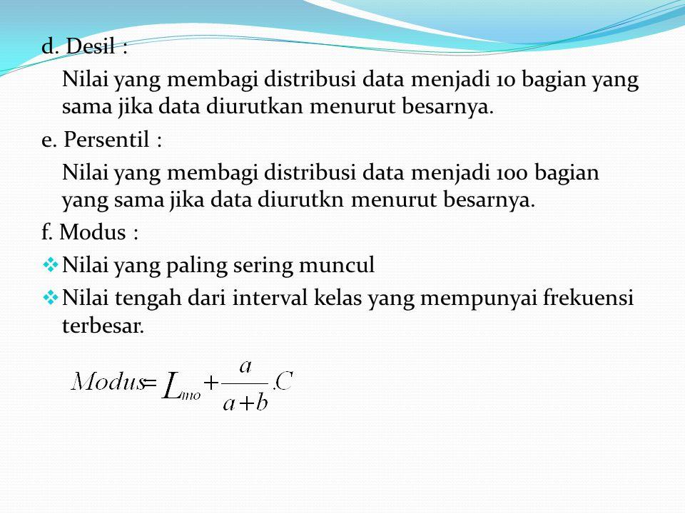 d. Desil : Nilai yang membagi distribusi data menjadi 10 bagian yang sama jika data diurutkan menurut besarnya. e. Persentil : Nilai yang membagi dist