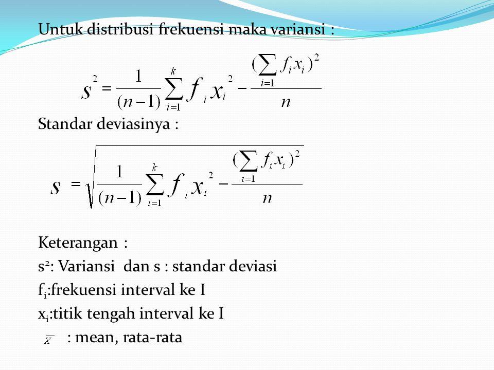 Untuk distribusi frekuensi maka variansi : Standar deviasinya : Keterangan : s 2 : Variansi dan s : standar deviasi f i :frekuensi interval ke I x i :