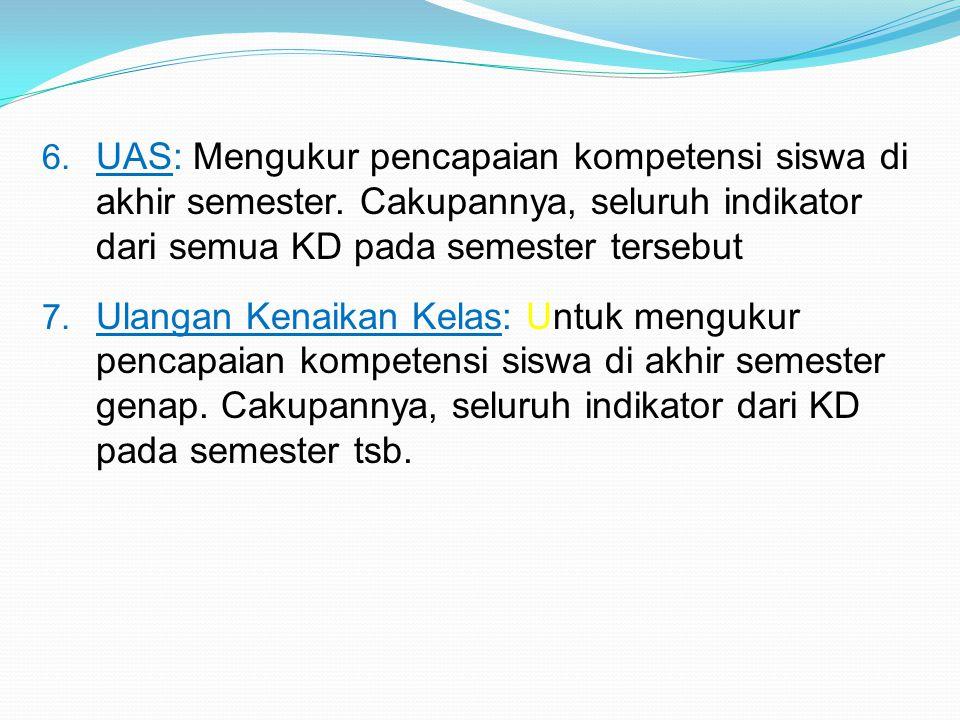 6.UAS: Mengukur pencapaian kompetensi siswa di akhir semester.