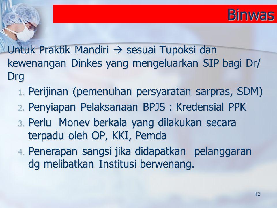 Binwas Untuk Praktik Mandiri  sesuai Tupoksi dan kewenangan Dinkes yang mengeluarkan SIP bagi Dr/ Drg 1. Perijinan (pemenuhan persyaratan sarpras, SD