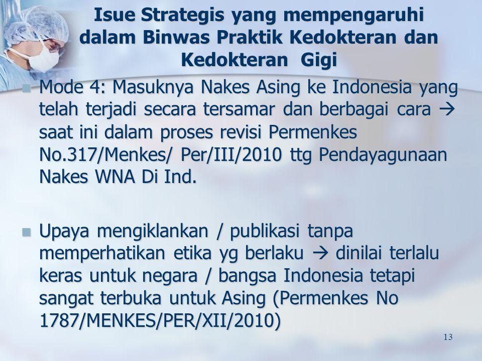 Isue Strategis yang mempengaruhi dalam Binwas Praktik Kedokteran dan Kedokteran Gigi Mode 4: Masuknya Nakes Asing ke Indonesia yang telah terjadi seca
