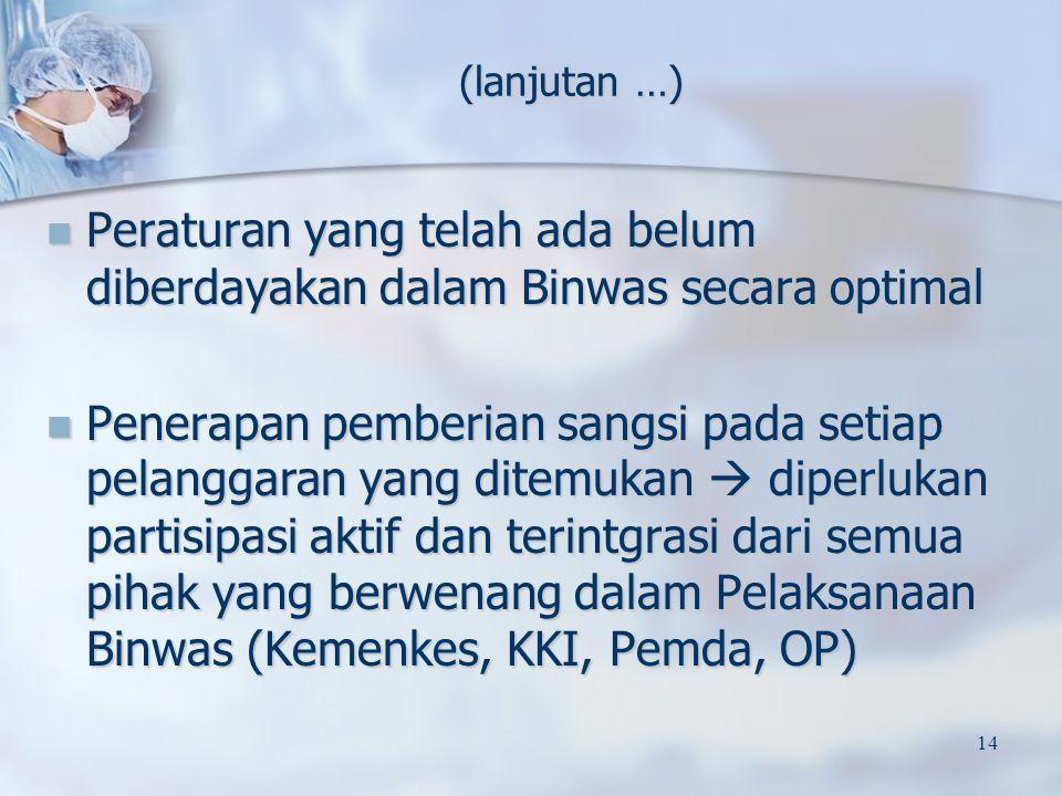 Peraturan yang telah ada belum diberdayakan dalam Binwas secara optimal Peraturan yang telah ada belum diberdayakan dalam Binwas secara optimal Penera