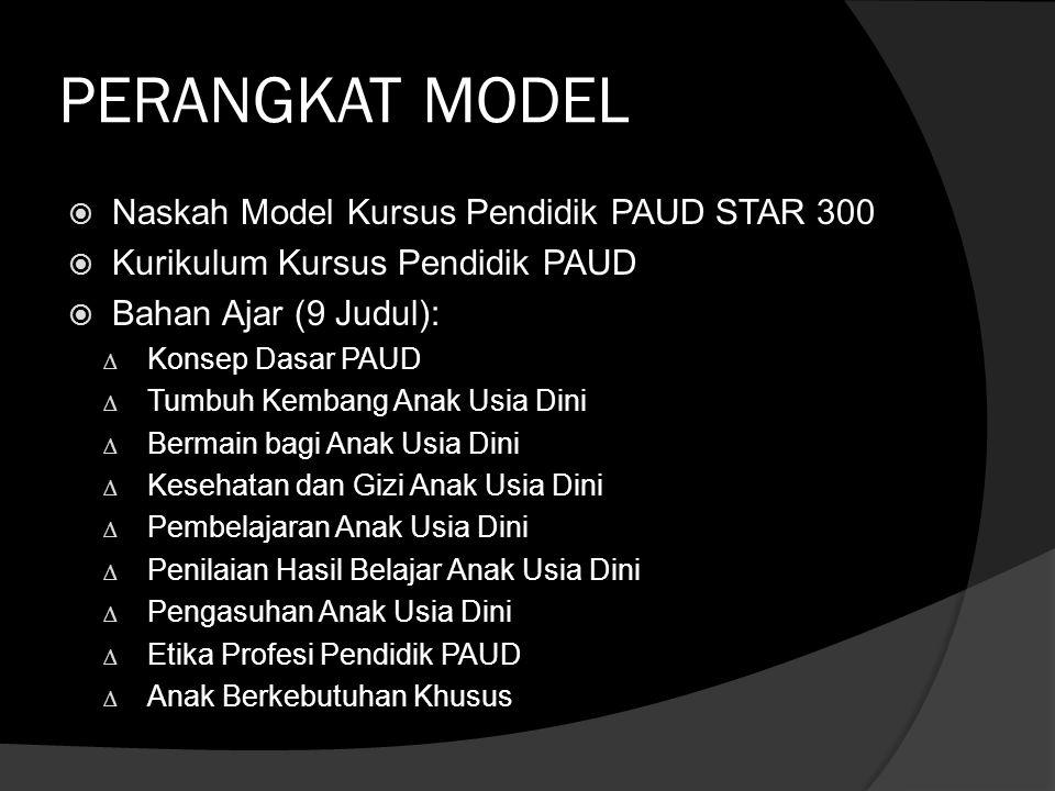 PERANGKAT MODEL  Naskah Model Kursus Pendidik PAUD STAR 300  Kurikulum Kursus Pendidik PAUD  Bahan Ajar (9 Judul): ∆ Konsep Dasar PAUD ∆ Tumbuh Kem