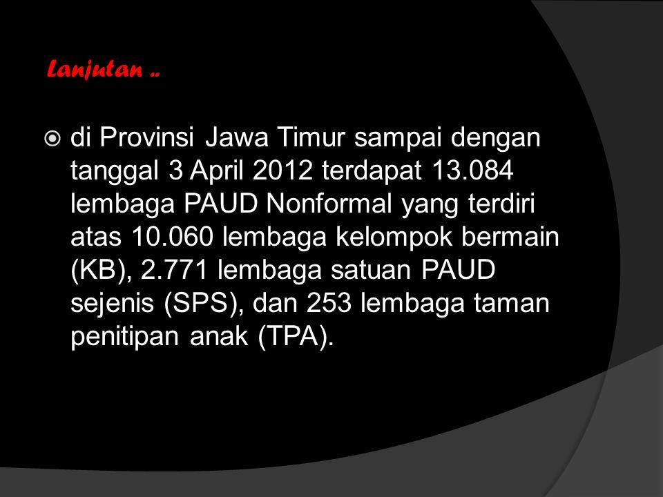 Lanjutan..  di Provinsi Jawa Timur sampai dengan tanggal 3 April 2012 terdapat 13.084 lembaga PAUD Nonformal yang terdiri atas 10.060 lembaga kelompo