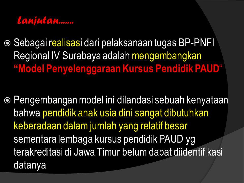 """Lanjutan.......  Sebagai realisasi dari pelaksanaan tugas BP-PNFI Regional IV Surabaya adalah mengembangkan """"Model Penyelenggaraan Kursus Pendidik PA"""
