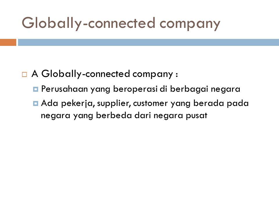 Globally-connected company  A Globally-connected company :  Perusahaan yang beroperasi di berbagai negara  Ada pekerja, supplier, customer yang berada pada negara yang berbeda dari negara pusat