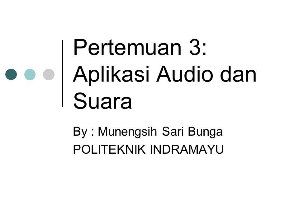 Pertemuan 3: Aplikasi Audio dan Suara By : Munengsih Sari Bunga POLITEKNIK INDRAMAYU