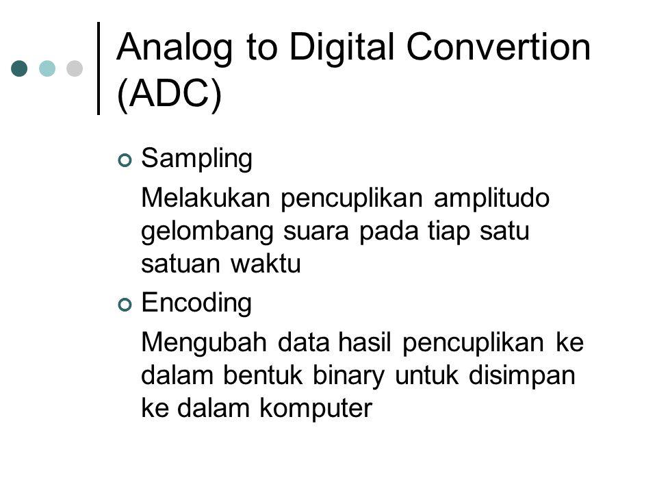 Analog to Digital Convertion (ADC) Sampling Melakukan pencuplikan amplitudo gelombang suara pada tiap satu satuan waktu Encoding Mengubah data hasil pencuplikan ke dalam bentuk binary untuk disimpan ke dalam komputer