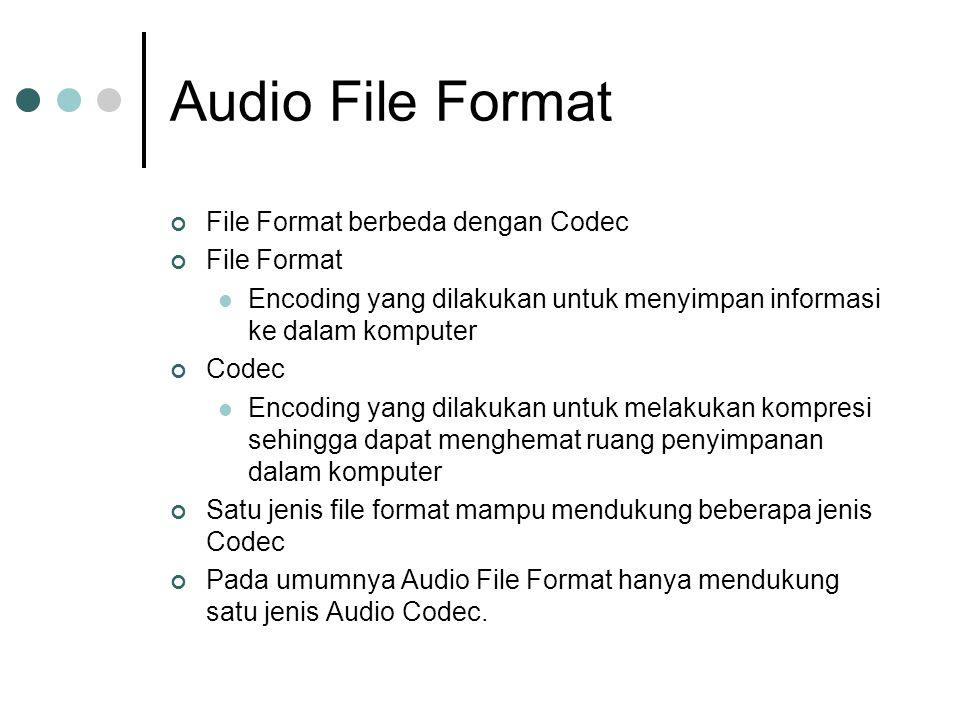 Audio File Format File Format berbeda dengan Codec File Format Encoding yang dilakukan untuk menyimpan informasi ke dalam komputer Codec Encoding yang dilakukan untuk melakukan kompresi sehingga dapat menghemat ruang penyimpanan dalam komputer Satu jenis file format mampu mendukung beberapa jenis Codec Pada umumnya Audio File Format hanya mendukung satu jenis Audio Codec.