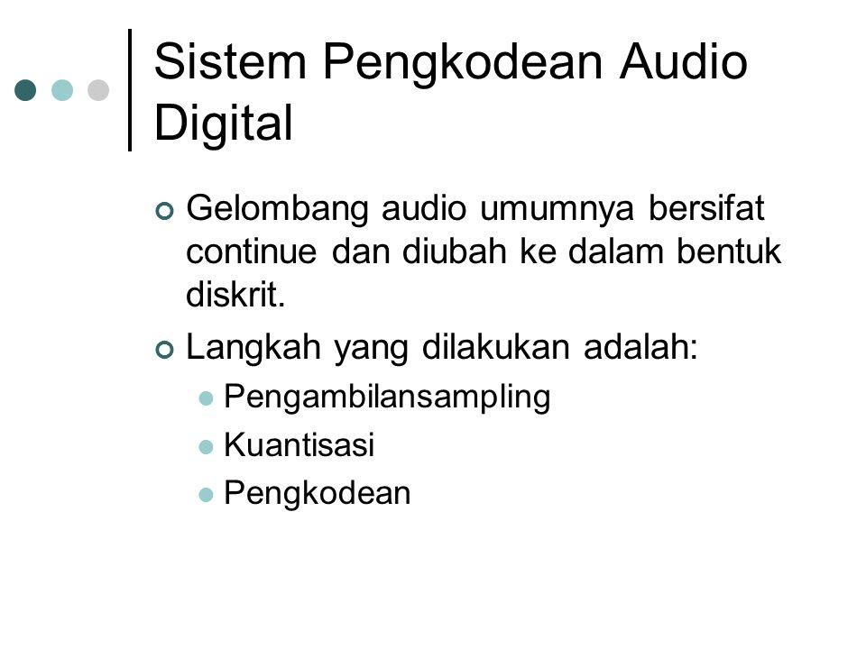 Sistem Pengkodean Audio Digital Gelombang audio umumnya bersifat continue dan diubah ke dalam bentuk diskrit. Langkah yang dilakukan adalah: Pengambil