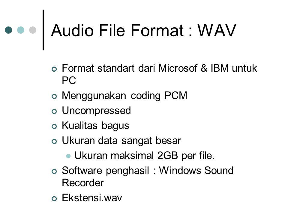 Audio File Format : WAV Format standart dari Microsof & IBM untuk PC Menggunakan coding PCM Uncompressed Kualitas bagus Ukuran data sangat besar Ukuran maksimal 2GB per file.